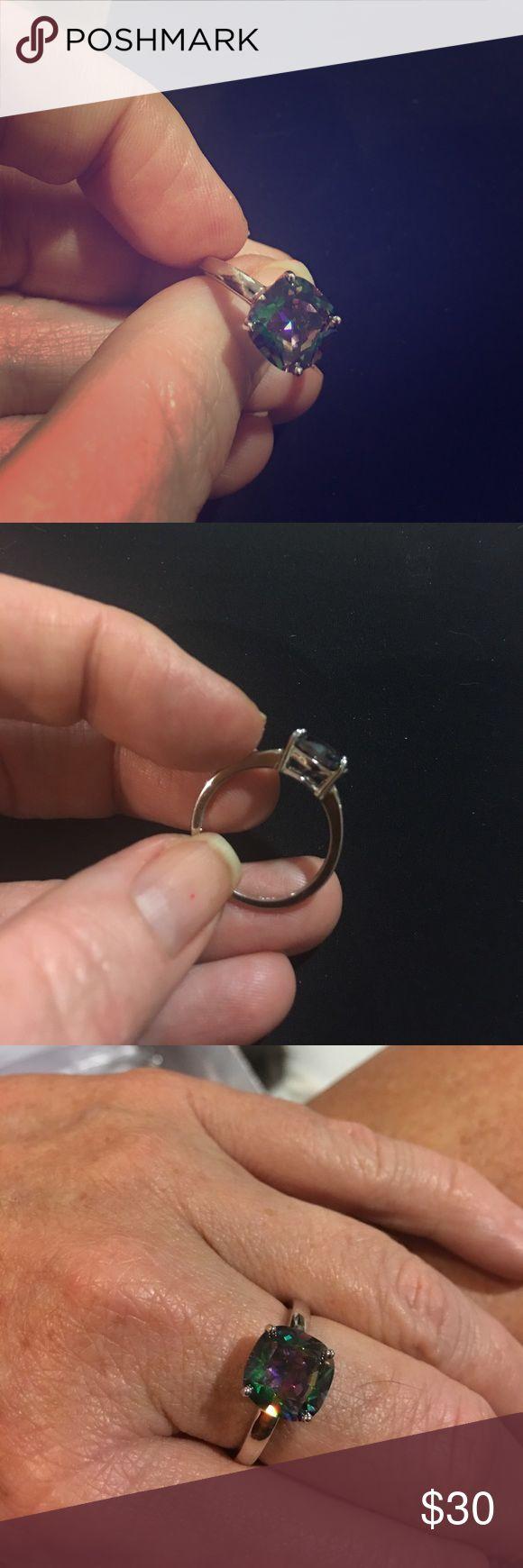 Rainbow Topaz sterling ring Cushion cut rainbow topaz sterling ring  rhodium covered Jewelry Rings
