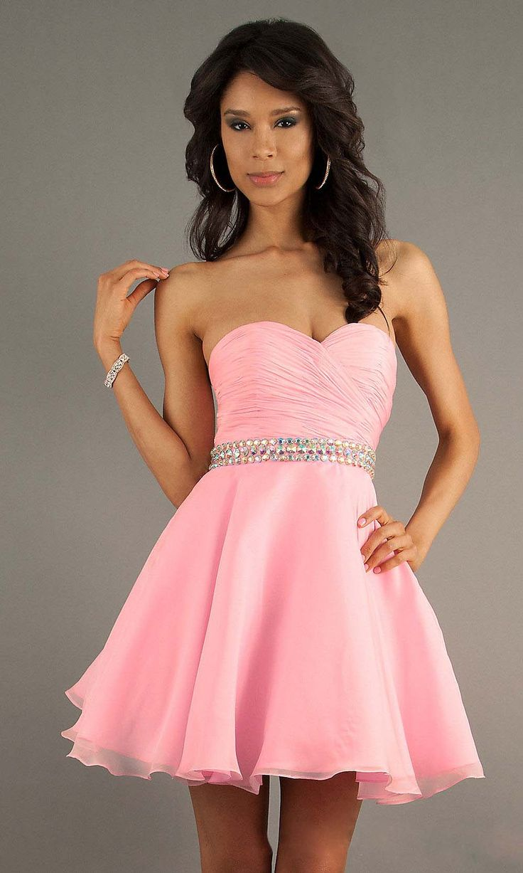 2014 Airly Sweetheart Short/Mini Dress Pleated Bodice A Line Crystal Beaded  Waistline Chiffon