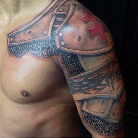 Drew R. - Black and Gray Armor Tattoo