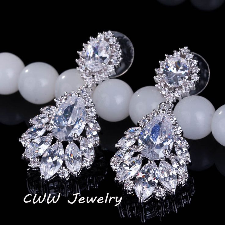 Cheap earings pearls, Buy Quality earrings crown directly from China earrings leaf Suppliers: 2015 CWW Brand Dangling Round And Square Cubic Zirconia Stone Luxury Long Crystal Drop Earrings For Women CZ227USD 8.40/