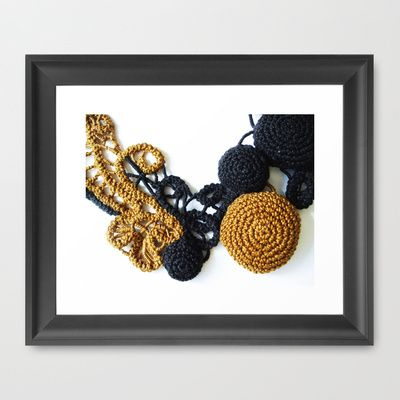 Black Coffee Romanian Point Lace Photography  Framed Art Print by BaleaRaitzART - $56.00