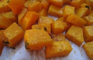 Roasted Butternut Squash Cubes with Thyme & Garlic (I like to use grape seed oil instead and add rosemary.)