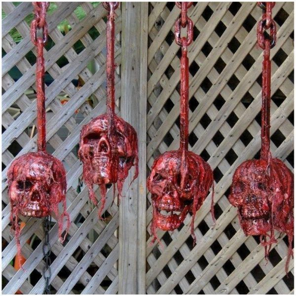 An artist-made life size Halloween skull. Bloody and impaled on a meat hook. Unique one-of-a-kind horror prop that has been sculpted and painted by hand. ONE skull included Imported from the US. Professional quality horror prop. A decoration not a toy. Contains latex