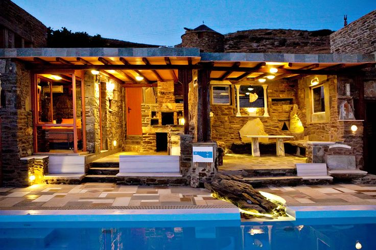 The Orange House has a large veranda with swimming pool with amazing vew over the #Aegean sea http://www.tinos-habitart.gr/orange-house.php