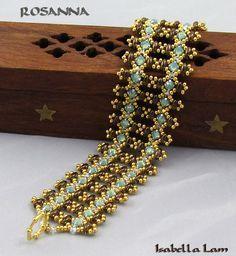 Flat RAW Rosanna Bracelet Swarovski Rose Montee and Czech SuperDuo two hole beads, Miyuki round glass seed beads and Swarovski crystal bicones