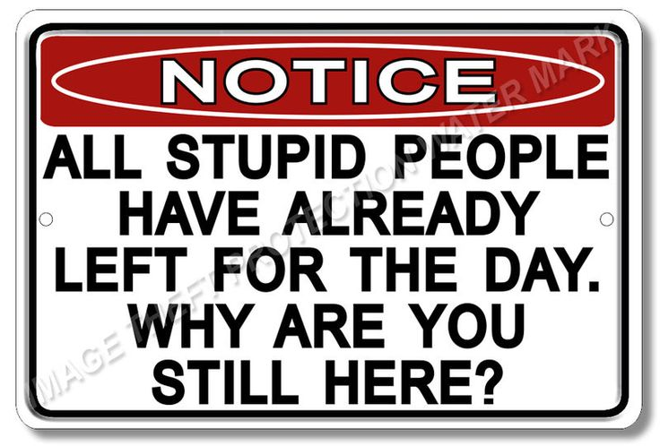 "Notice Stupid People 100% Aluminum Sign Funny Office Humor Brand New 8""x12"" #YNGWNSP2 #OfficeCommercialBusiness"