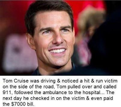The Memes Factory  Tom Cruise was driving & noticed a hit & run victim on side of the road