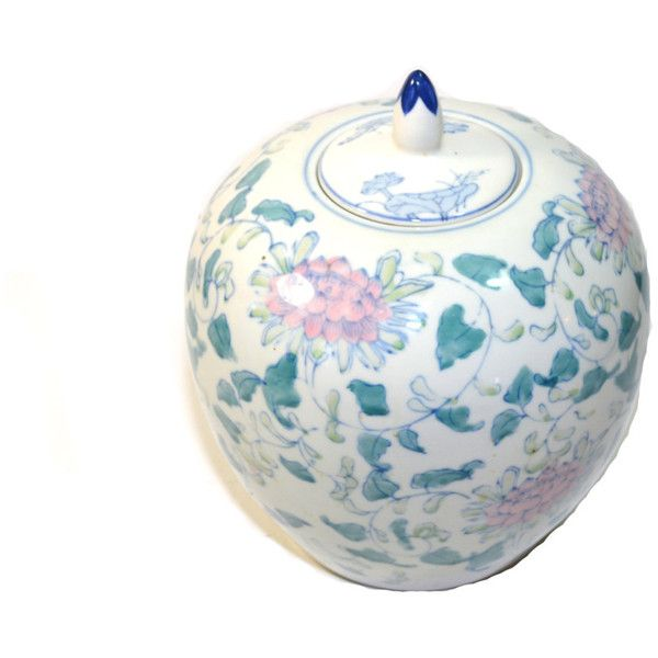 Vintage Pink and White Melon Jar Vintage Ginger Jar Pink and White... (€50) ❤ liked on Polyvore featuring home, home decor, vintage jars, ceramic jar, vintage ginger jars, outdoor home decor and pineapple home decor