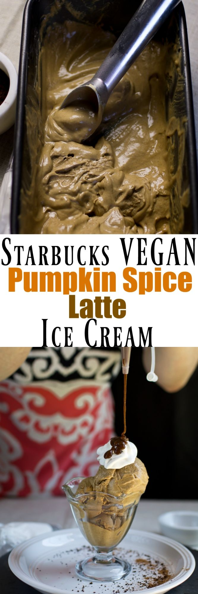 You can make your very own Starbucks latte at home, ice cream style and totally dairy-free! This is the ultimate indulgence for the season of pumpkin. This Starbucks vegan pumpkin spice latte ice cream tastes just like the drink, but in a decadent ice cream dessert! via @thevegan8