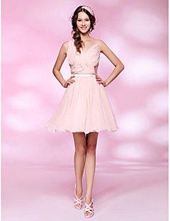 A-line princesa v-pescoço curto / mini vestido de vestidos de chiffon com drapeado por ts couture®