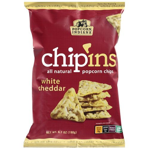 Popcorn, Indiana Chip'ins White Cheddar Popcorn Chips, are AMAZING and low in calories! 18 chips has 130 calories.