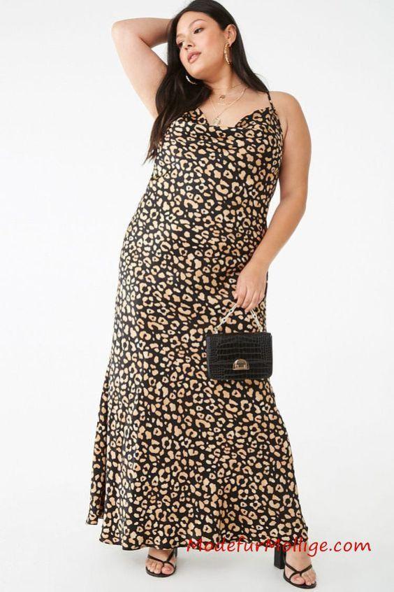 Leoparden Sommer Maxikleid für Mollige Frauen: St…