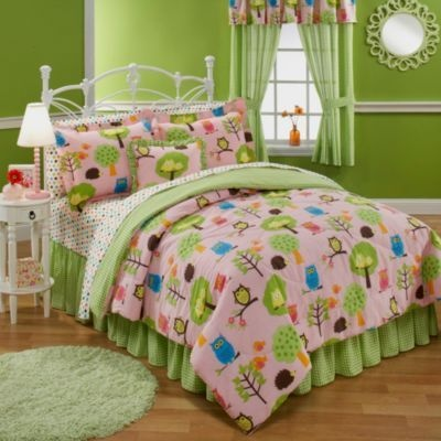 Girls Teen Queen Size Nature Hoot Owl Comforter Bed Set
