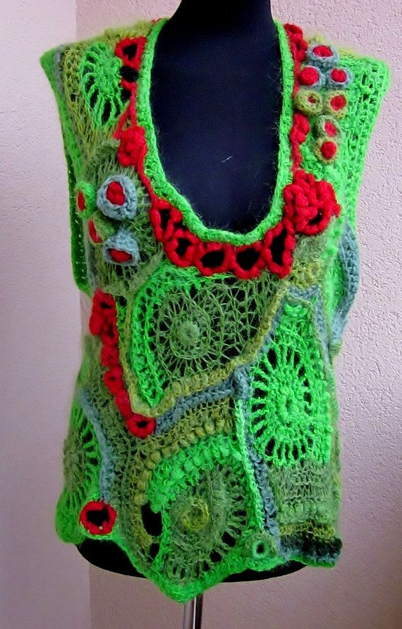 PROMOTION field of poppies , poppies meadow, tunic, avantgarde, freeform crochet