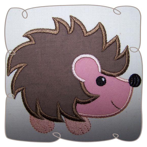 Applique Hedgehog Critter Machine Embroidery Design