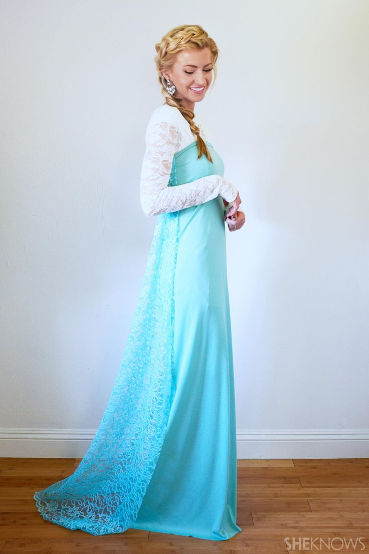 Easy DIY Elsa Halloween Costume Seems like just a long sleeve over a staples dress and added the train later