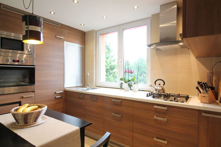 simple design of kitchen in apartment building