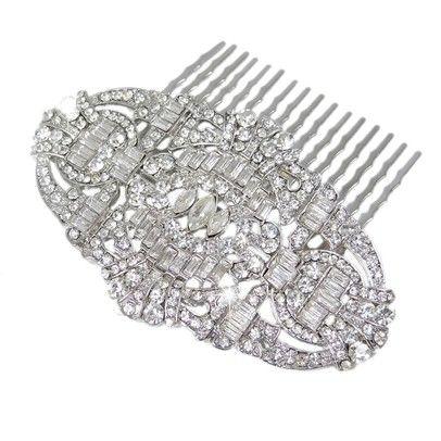 Gatsby Inspired Swarovski Hair CombOzsaleN01772-Silver
