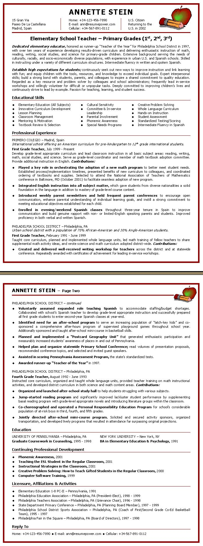 teacher resume elementary school teacher sample resume - Resume Templates For Educators