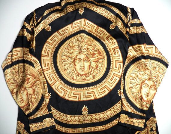versace italy style mens large medusa head print 100% silk shirt gold yellow black baroque atelier vintage rare high fashion hip hop club l