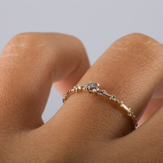 Gold and Champagne Diamond Engagement Ring by MichelleOhJewellery
