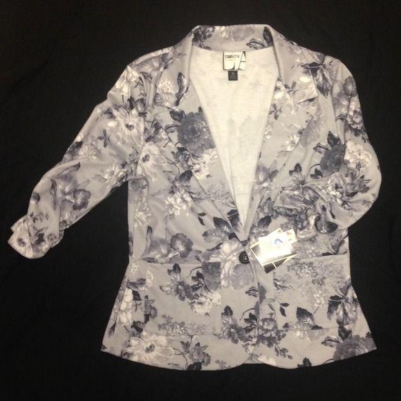 Black and grey floral blazer (M) Black & grey floral blazer. Three quarters sleeve. Two front packets. Stars Scene LA Jackets & Coats Blazers