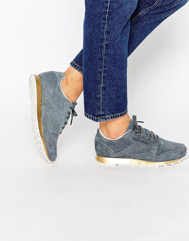 image 1 of reebok classic gray suede sneaker with gold. Black Bedroom Furniture Sets. Home Design Ideas