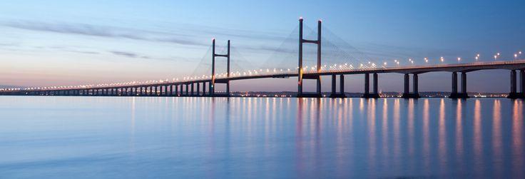 Severn Bridge in sunset - Visiting Wales