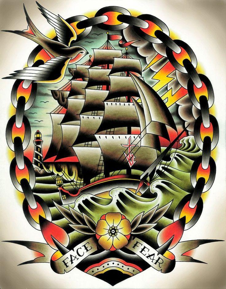 Fear II by Tyler Bredeweg Classic Tattoo Ship Art Design Giclee Print – moodswingsonthenet
