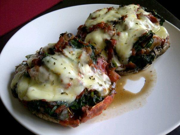 : portabello mushroom, sauteed tomatoes, garlic, spinach, add basil ...