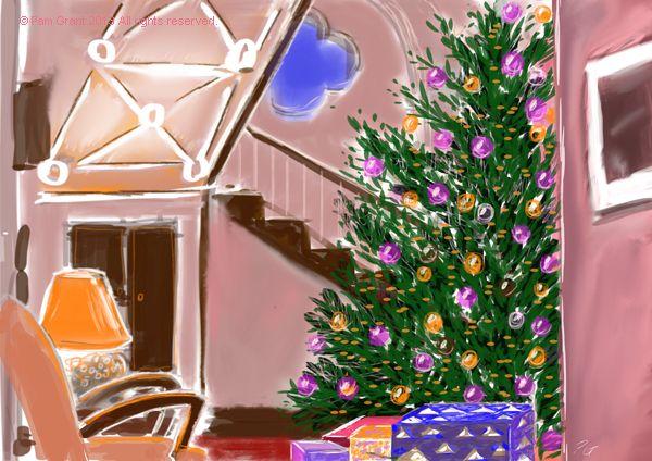 More iPad drawing, the Christmas tree and front hall at Higham Hall near Keswick last year
