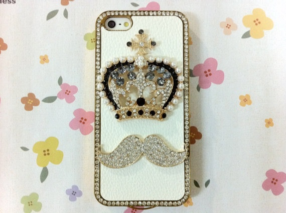 New Chic Luxury Crystal Pearl Crown Mustache Mounted by Mobimoda, $24.99