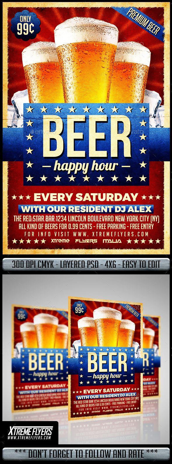 Happy Hour Beer #Flyer - #Restaurant Flyers Download here: https://graphicriver.net/item/happy-hour-beer-flyer/19511968?ref=alena994