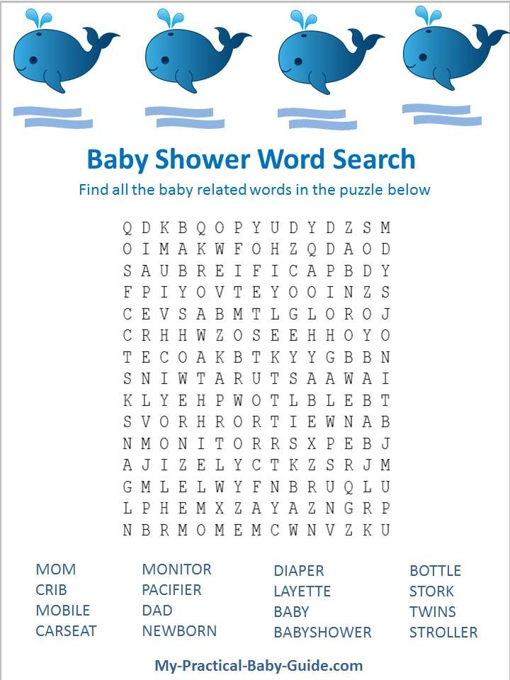 Free Printable #Whale #Baby #Shower Word Search game. Click for more printable games and lot's of whale baby shower ideas.