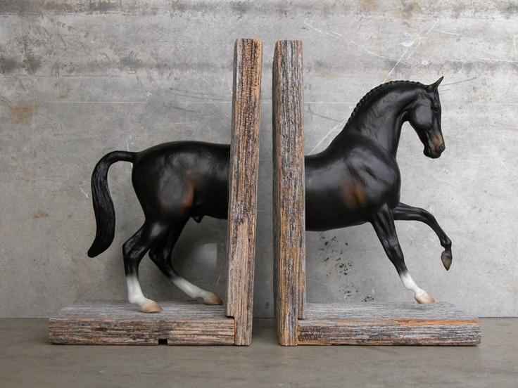 Warmblood Sculpture Horse Bookend, Dark Bay w/Socks. $165.00, via Etsy.
