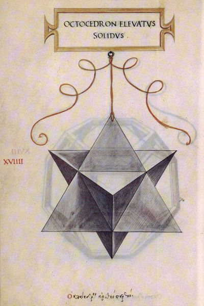 Leonardo da Vinci's drawing of the stellated octahedron or stella octangula (octocedron elevatus solidus) for Luca Pacioli's book 'De divina proportione'.