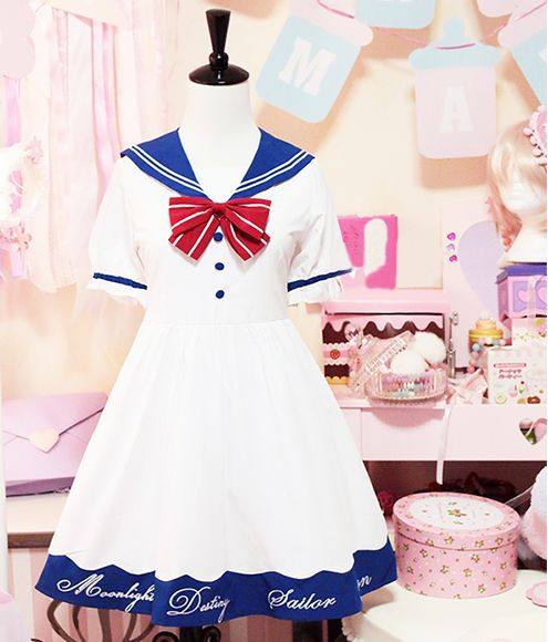 "Japanese kawaii sailor dress $62.00 enter coupon code ""thingsfromjapan"" for 10% off http://thingsfromjapan.net/japanese-kawaii-sailor-dress/ #Japanese dress #Japanese fashion #sailor dress #kawaii"
