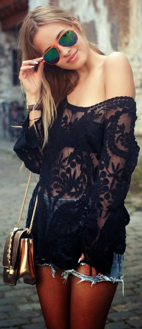 Adorable Black Lace Blouse!!!wear with blk tank underneath it.