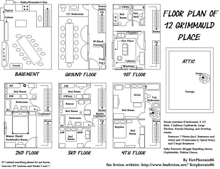 floor plan of 12 grimmauld place • by firephoenix86 (www.fanfiction.net/~firephoenix86)