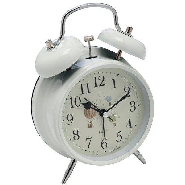 M&Co Acctim Bell Alarm Clock (540 UAH) ❤ liked on Polyvore featuring home, home decor, clocks, white, alarm clock, traditional alarm clock, alarm-clock, white home decor and white alarm clock