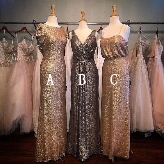 Sequin bridesmaid dresses, mismatched bridesmaid dresses, shinning long bridesmaid dress, popular bridesmaid dress, cheap wedding party dresses