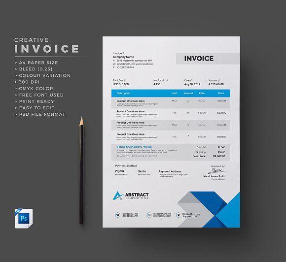 Creative Invoice by Generous Art_2 on @creativemarket