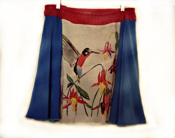 Boho Skirt | Women's Funky Clothing | Unique Hippie Clothes | Recycled Tee Shirts
