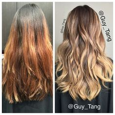 I had to cut this client's hair before I color to add balance and texture. Her base formula is  @goldwellkmsacademy #topchic 6mb 20vol. #babylights with #silklift 30vol and gloss over with 8gb and 9gb demi #colorance for 20 mins . I use foils for heat conduction so the hair would lift higher. Lightner sat on for 45mins in room temperature.  Happy Easter  #iamgoldwell #guytang