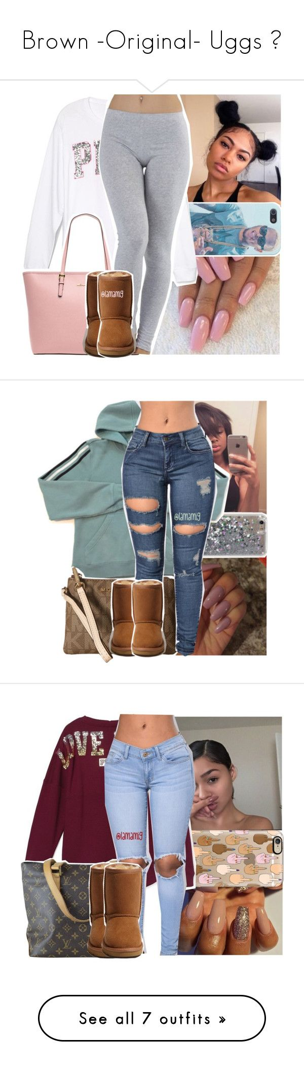 """""""Brown -Original- Uggs 💛"""" by prinxcess-adrii ❤ liked on Polyvore featuring MICHAEL Michael Kors, UGG Australia, adidas, Casetify, Victoria's Secret, Louis Vuitton, H&M, MCM, MANGO and Rolex"""
