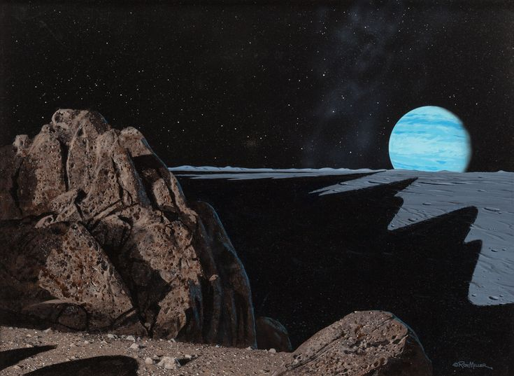 ron miller - neptune as seen from triton, 1979
