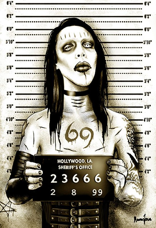 Purple Leopard Boutique - MM Shock Rocker Marilyn Manson Mugshot by Marcus Jones Screaming Demons Canvas Giclee Art Print, $65.00 (http://www.purpleleopardboutique.com/mm-shock-rocker-marilyn-manson-mugshot-by-marcus-jones-screaming-demons-canvas-giclee-art-print/)