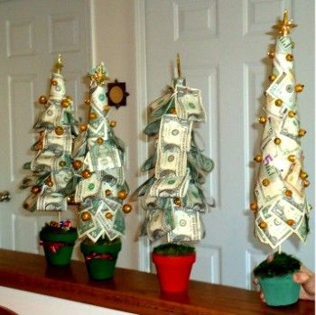 Friend & I made these money trees for Christmas gifts.  Found the idea here, but we added decorations to the tree and little presents under it.