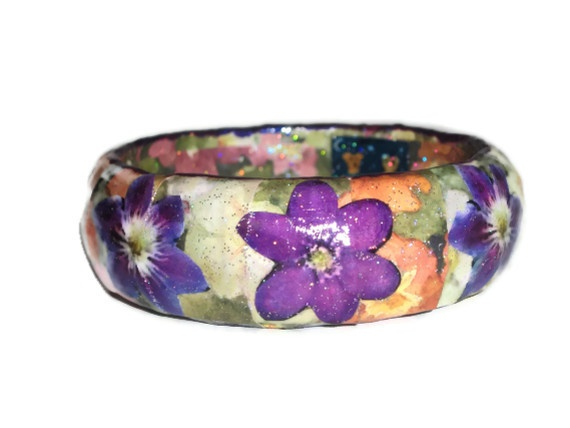 Flower Decoupage Bangle £10.00