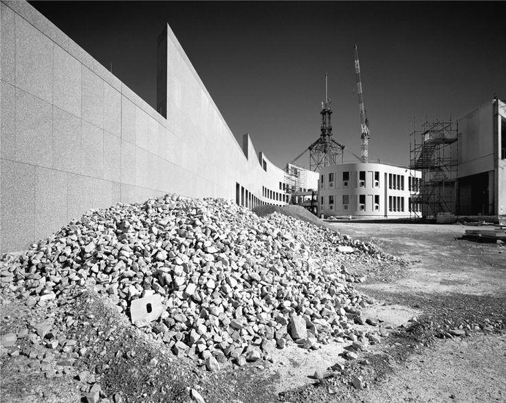 Parliament House of Australia, Canberra under construction, January 1987. Max Dupain photo.